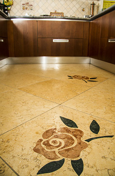 Floor inlaid yellow