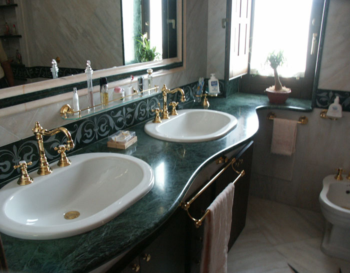 Bathroom in Green Guademala Marble